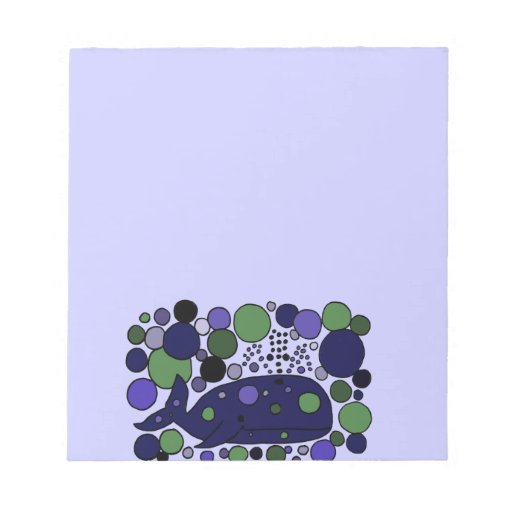 Artistic Blue Sperm Whale Abstract Art Memo Pad