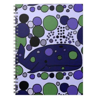 Artistic Blue Sperm Whale Abstract Art Spiral Notebooks