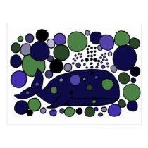 Artistic Blue Sperm Whale Abstract Art Postcard