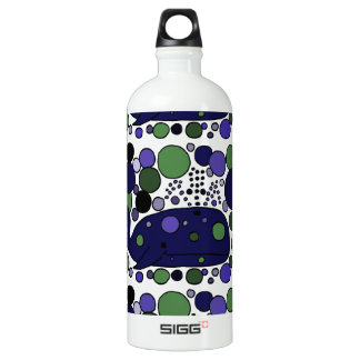 Artistic Blue Sperm Whale Abstract Art Water Bottle