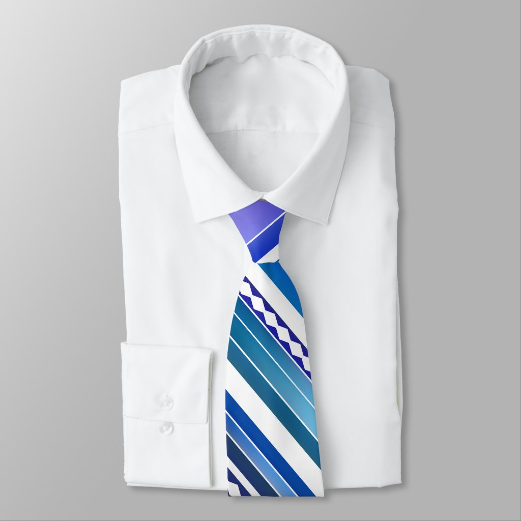 Artistic Blue Teal Purple with White Striped Tie