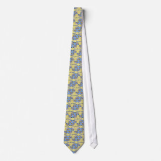 Artistic Blue Yellow Positive Life Funky Pattern Neck Tie