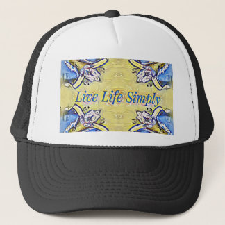 Artistic Blue Yellow Positive Life Funky Pattern Trucker Hat