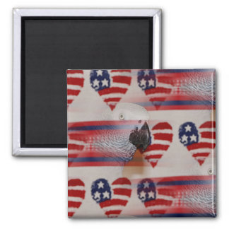 Artistic Blurry 4th of July African Grey 2 Inch Square Magnet