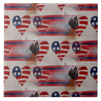 Artistic Blurry 4th of July African Grey Ceramic Tile