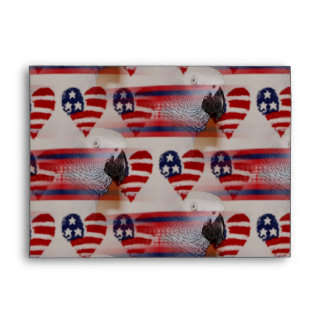 Artistic Blurry 4th of July African Grey Envelope