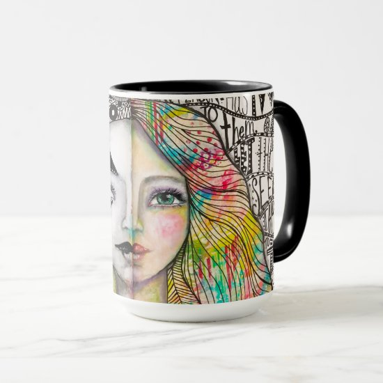 Artistic Bold Bright Girl Black White Colorful Fun Mug