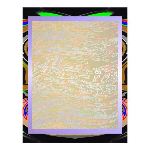 Artistic Borders n Sky Blue Waves Custom Letterhead