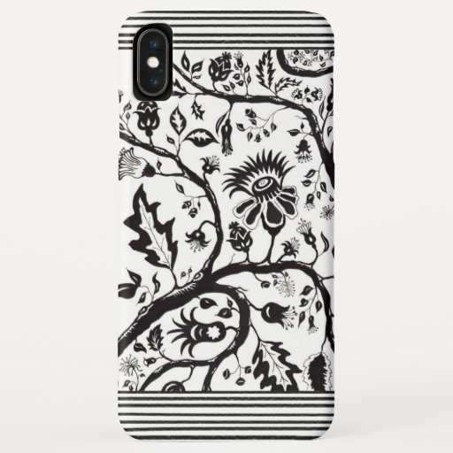 Artistic Botanical Black and White iPhone XS Max Case
