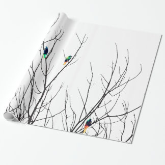 Artistic Bright Birds on Tree Branches Wrapping Paper