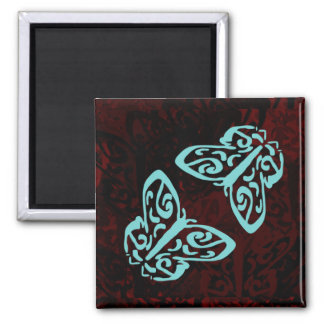 Artistic Bright Blue Butterflies Love 2 Inch Square Magnet