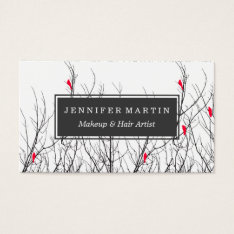 Artistic Bright Red Birds On Tree Branches Business Card at Zazzle