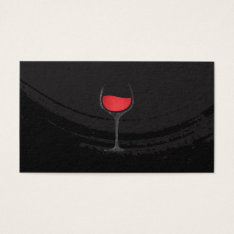 Artistic Brushed Black Red Wine Glass Business Card at Zazzle