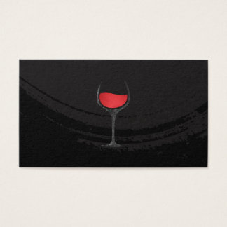 Artistic Brushed Black Red Wine Glass Business Card