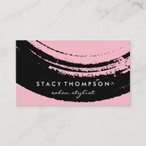 Artistic Brushed Pink on Black Business Card