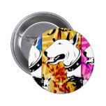 Artistic Bull Terrier Dog Breed Design Buttons