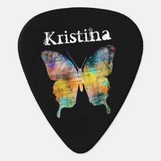 Artistic Butterfly Custom Name Guitar Pick