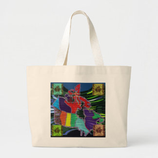 Artistic Canadian Map and MapleLeaf Tote Bags