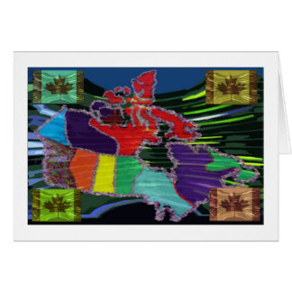 Artistic Canadian Map and MapleLeaf Greeting Card