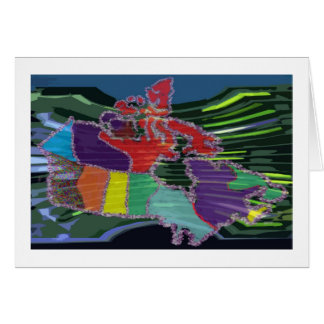 Artistic Canadian Map and MapleLeaf Greeting Cards