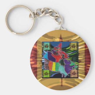 Artistic Canadian Map and MapleLeaf Keychain