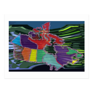 Artistic Canadian Map and MapleLeaf Postcard