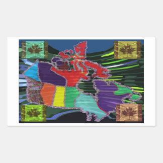 Artistic Canadian Map and MapleLeaf Rectangular Sticker