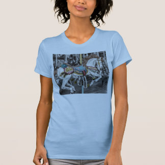 Artistic carousel horse accents colorful tee