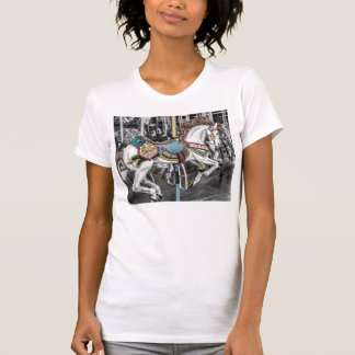 Artistic carousel horse accents ladie's tee