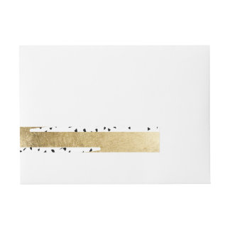 Artistic Chic Gold & Black Zigzag & Abstract Wrap Around Address Label