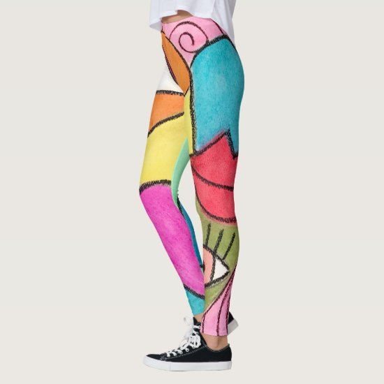 Artistic Color Block Blue Red Green Yellow Purple Leggings