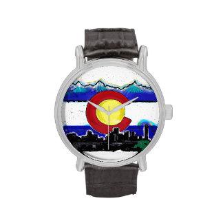 Artistic Colorado flag Denver skyline wrist watch
