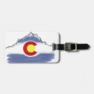 Artistic Colorado flag mountain Luggage Tag