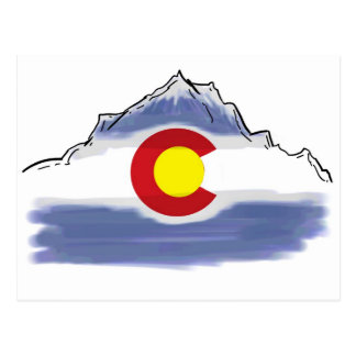Artistic Colorado flag mountain Postcard