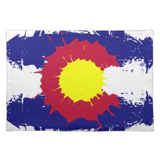 Artistic Colorado flag paint splatter placemat