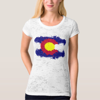 Artistic Colorado flag paint splatter womens shirt