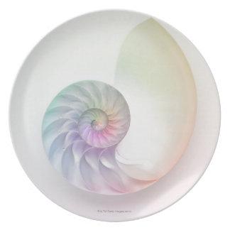 Artistic colored nautilus image dinner plate