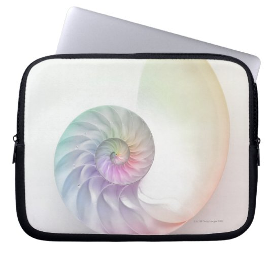 Artistic colored nautilus image laptop sleeve