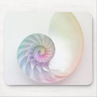 Artistic colored nautilus image mouse pad