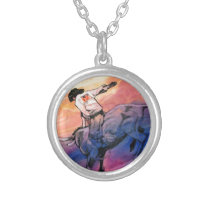 Artistic colorful bull rider cowboy silver plated necklace
