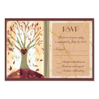 Artistic colorful fall tree wedding RSVP cards