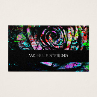 Artistic Colorful Painted Abstract Rose Business Card