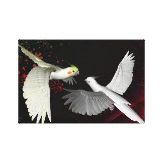 Artistic colorful parrots design canvas print