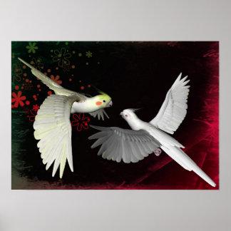 Artistic colorful parrots design poster