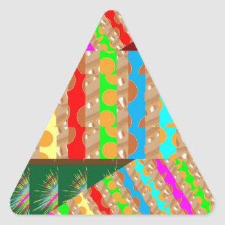 ARTISTIC Colorful Patch work: Great Gift OCCASIONS Triangle Sticker