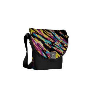 Artistic colorful scratch lines mini messenger bag