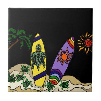 Artistic Colorful Surfboards Surfing Art Ceramic Tile
