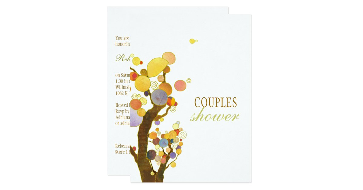 Wedding Gift For Artsy Couple : Artistic Colorful Trees Wedding Couples Shower Card Zazzle