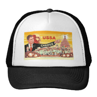Artistic commentary on direction of country trucker hat