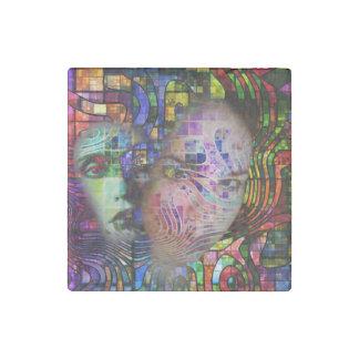 Artistic Confusion of Brain Fog Stone Magnet